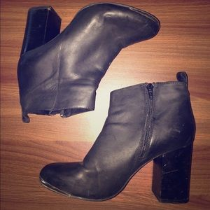 Black Leather Booties by Steve Madden